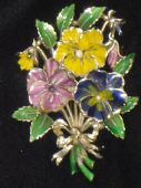 Flower Brooch signed Exquisite from the 1960's (Large Pansy)(SOLD)